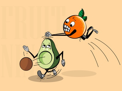 Fruits Ninja green angry fruits orrange creative art vector graphicdesign illustration fight adobe illustrator