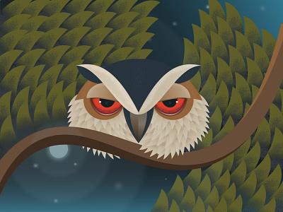 Angry OWL website web leaf moonlight moon tree bird character design application angry night adobe illustrator design vector uiux illustration graphic design