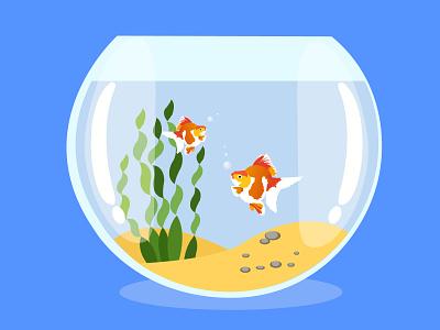 Fish Tank vector ui design illustration adobe illustrator 3d graphic design animation