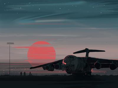 Armored plane photoshop evening army flight airport sun sunset armored army flight plane illustration design adobe illustrator digital art graphic design