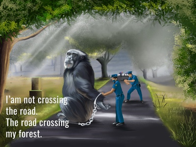 Chimpanzee arrested by cops art digital photoshop sad nature scenery green road forest arrested police cops graphic design