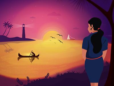 A Mesmerizing Sunset latest designs designer artwork artist graphic design motion graphics sunset animation illustration design adobe illustrator vector