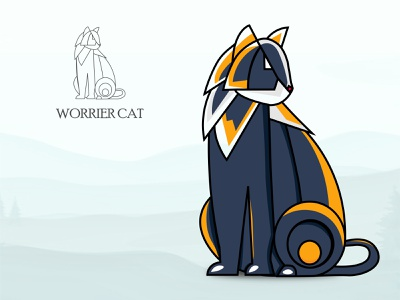 Worrier Cat illustration color worrier design ui vector adobe illustrator il cat logo