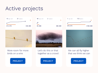 Crowdfunding projects with success indication web design ux ui dashboad status success crowdfunding