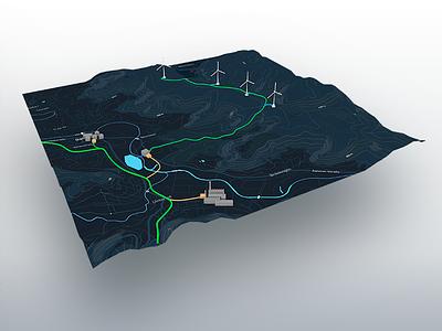 3D Map Design map design ux textures dark contrast map