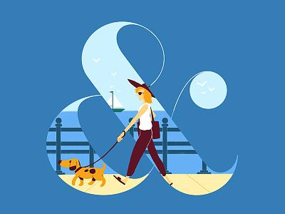 & - ATC Artist Series 1 ampersand typography type dog sea boat illustration boardwalk
