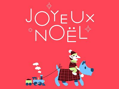 Merry Christmas! illustration drawing christmas elf toy train dog
