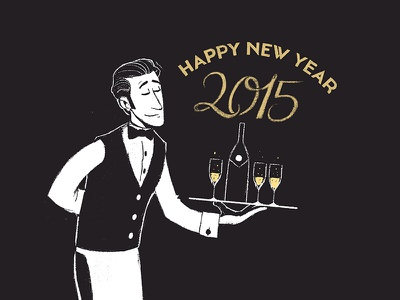 Happy New Year 2015 illustration drawing sketch doodle new year 2015 champaign lettering typography