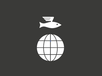 Le Poisson Voyageur wings travel earth globe fish wip logo