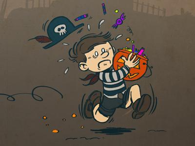 Halloween halloween run little boy candy pumpkin pirate