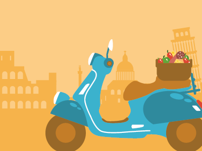 Scooter scooter rome pisa italy food motion design vector illustration