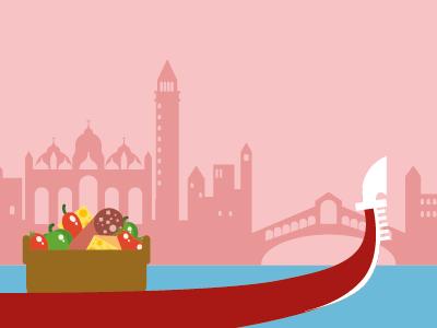 Gondole venice boat food motion design illustration vector san marco rialto
