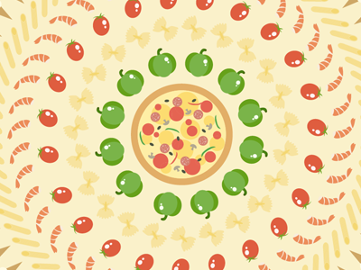 Motion Design pizza food illustration vector motion design tomato muschroom peperoni cheese pepper italy