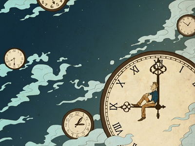 Pour l'Instant time illustration clock vintage feel night stars clouds drawing