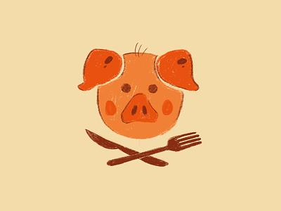 Restaurant 1 pig meat illustration ham symbol food design