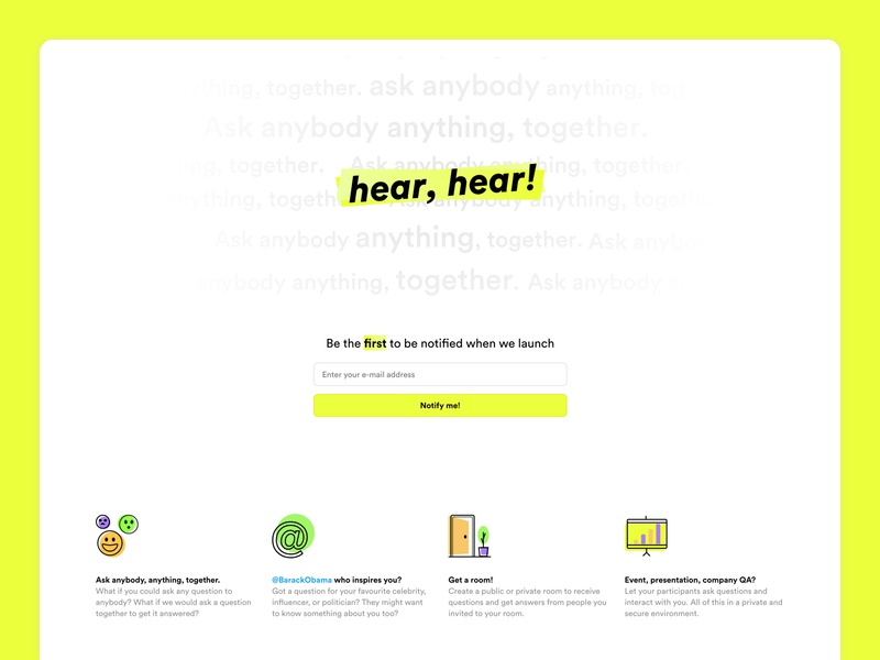 Splash page for Hear, hear! branding illustrations visual work in progress beta launching soon sign up splash page website splash page