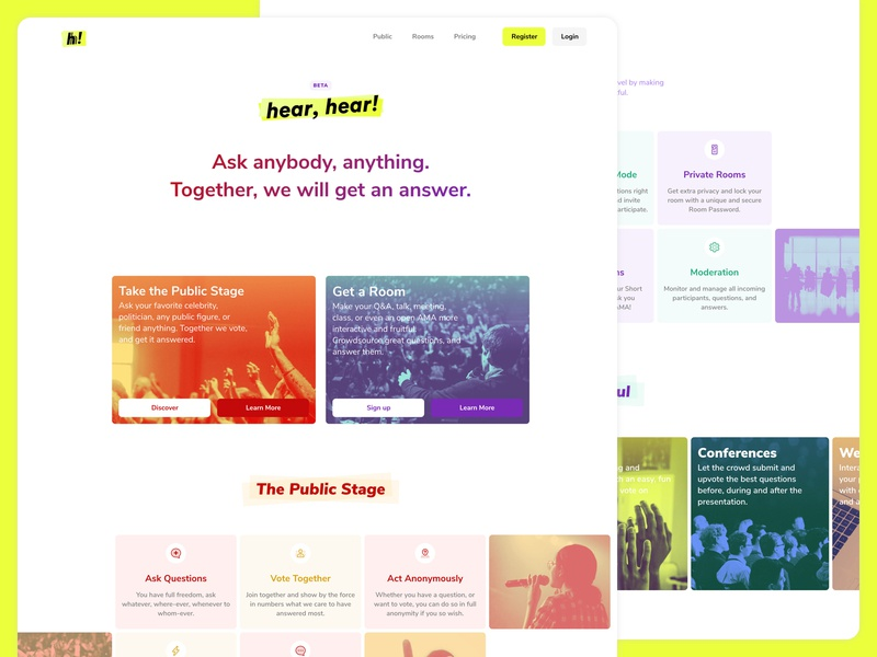 About page for Hear, hear! gradients duotone imagery bright colors colorful iconography visual design website landing page about