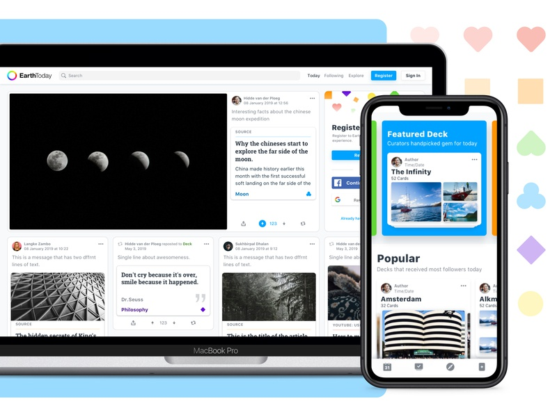 EarthToday - Content & Explore mobile desktop overview explore ux ui user interface social social media platform content product design product