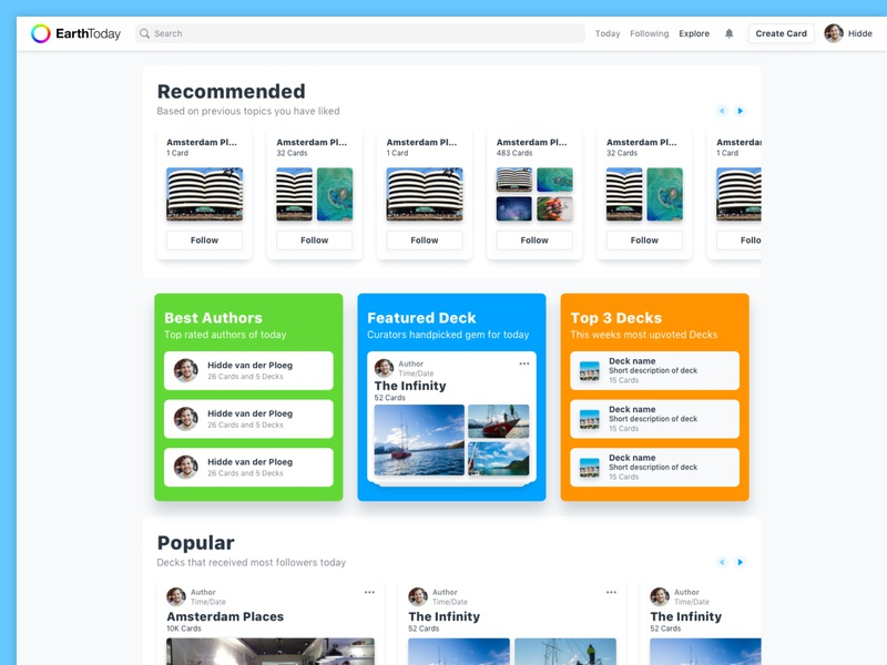 EarthToday - Explore (Desktop approach) information hierarchy grouped visual designs visual design layout desktop sections decks cards web app user interface guidance discovery explore page explore