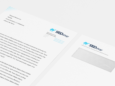 SEOshop letterhead and envelope print letterhead envelope branding identity design letter seoshop graphic design