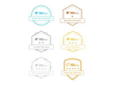 Final certified partner badges shapes stars rating outlines certification partners certified ranks badges badge design seoshop