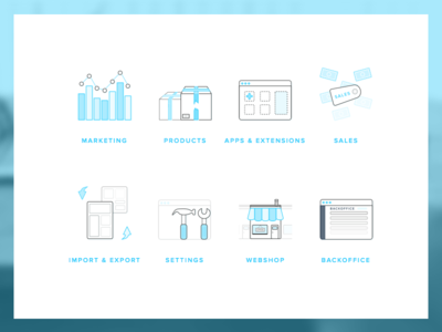 More blue highlighted icons webshop export import sales products marketing 96x96 seoshop iconography icon icons