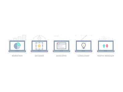 Sneak peek #4: Job function visuals illustration illustrations job traffic manager consultant developer marketeer designer laptop macbook visual visuals