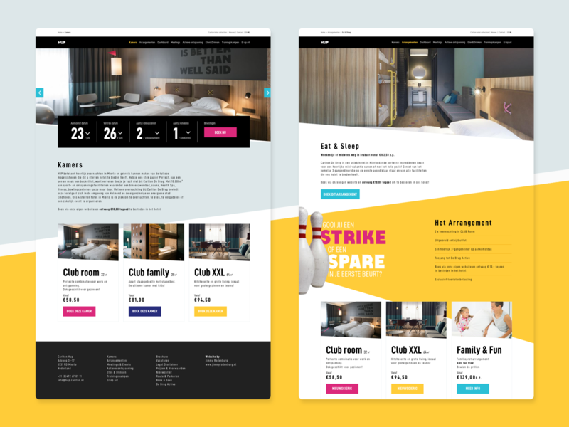 HUP Hotel fit lifestyle sport hup userinterfacedesign ux ui spare strike bowling black yellow website web design hotel