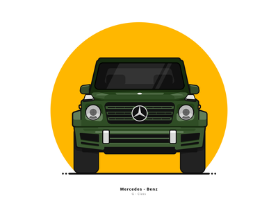 Mercedes-Benz G-Class white ux ui sketch drawing flat green yellow circle graphicdesign graphic vehicle vector outline illustration illustrator g class mercedes-benz mercedes car