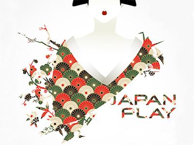 Geisha geisha japan kimono white nature origami poster