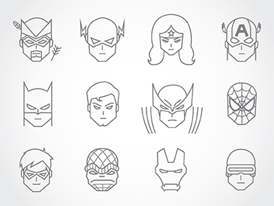 Superhero Pattern spiderman batman flash superman wolverine x-men green arrow wonder woman captain america iron man