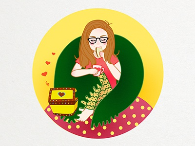 Dana illustration vector girl biscuit eugenia blanket cute tea coffee mug