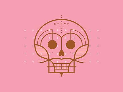 Dandy from beyond mustache dandy skull cushion