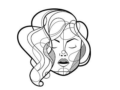 Ducklips line art portrait face woman