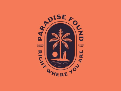 Paradise Found austin texas hawaii jay master design package design sun ocean surf palm illustration brand branding custom typography badge print packaging identity logo