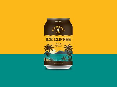 Big Island Coffee illustration typography print branding design branding tropical sand sea mountains palmtree volcano packaging sunset ocean paradise ice coffee can coffee