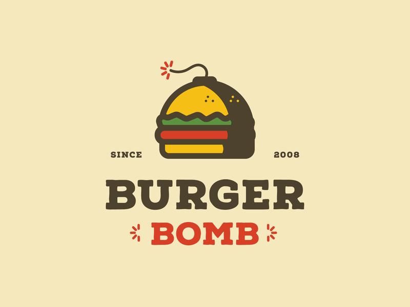Burger Bomb branding design pattern food truck restaurant branding print design bomb hamburger custom type print badges typography illustration branding packaging identity logo