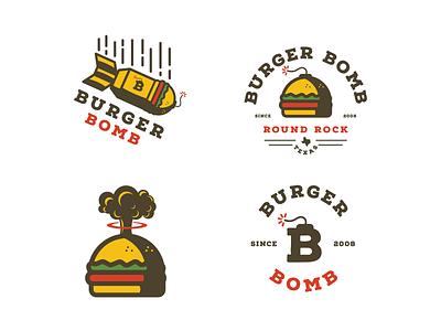 Burger Bomb - secondary marks print typography custom typography illustration identity branding food truck restaurant fire fuse mushroom cloud bbq texas bomb burger