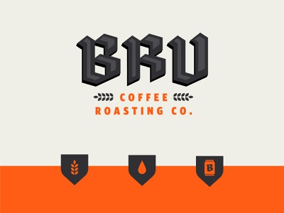 BRU Coffee blackletter shield geometric orange icon can roasting packaging coffee