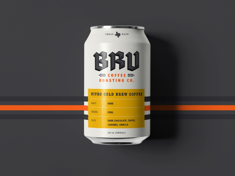 BRU Ice Coffee texas coffee shop can typography logo brand branding custom typography print packaging coffee
