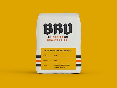BRU bags flat illustration typography custom type logo design brand identity colors flavor package logo brand print brand system packaging bags coffee