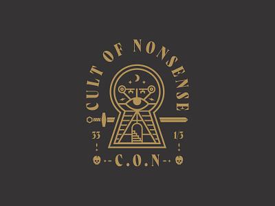 CON 33 skull stars moon lightning eye stairs key keyhole sword badge logo secret cult