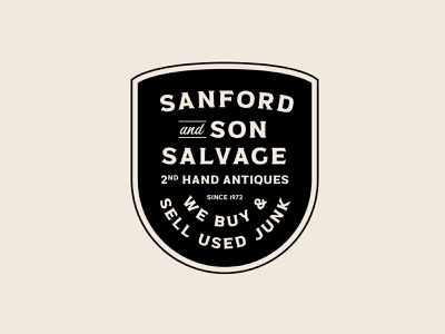 Sanford and Son branding design custom type salvage jay master design brand packaging logo identity branding badges typography print tv show