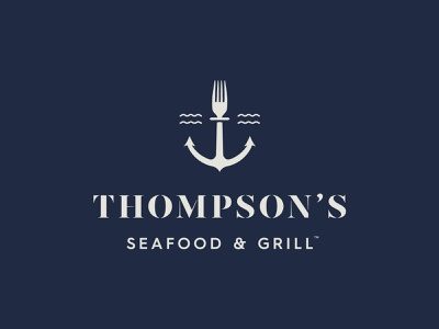 Thompson's jay master design blue illustration typography grill seafood water waves fork logo design anchor restaurant branding restaurant packaging print idenity logo