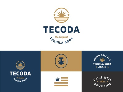 Tecoda flag pop soda identity print typography badges branding logo packaging design stars and stripes stars agave packaging tequila