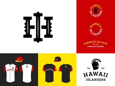Hawaii Islanders branding design monograms honolulu typography monogram badges jay master design hawaii baseball bat branding packaging identity baseball