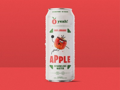 O Yeah! Apple Sparkling Water package design can art organic fruit bubbles basketball stick figure badges jay master design typography illustration branding packaging identity logo