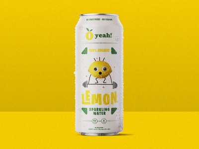 O Yeah!  Lemon Sparkling Water typogaphy custom type prints weightlifting sparkling water fun fruit organic weights lemon brand print jay master design badges typography illustration branding packaging identity logo