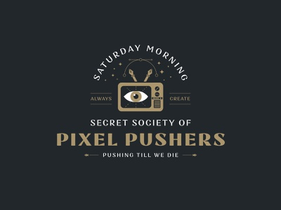Pixel Pusher identity packaging jay master design secret eye pen tool tv brand identity branding print custom typography illustration badge logo