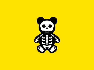 Skele-Bear icon illustration xray skeleton bear packaging design print branding packaging identity logo